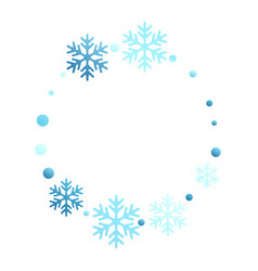 Winter snowflakes and circles border vector