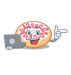 With laptop jelly donut character cartoon vector
