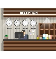 wooden reception interior vector image