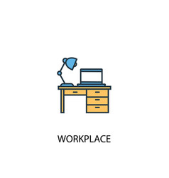 workplace concept 2 colored line icon simple vector image