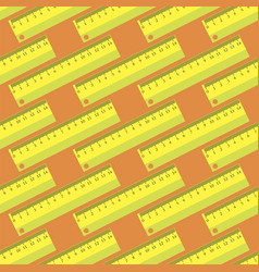 Yellow wooden ruler seamless pattern vector