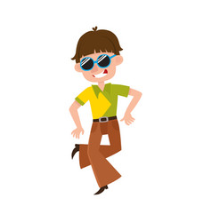 Young man in retro sunglasses and bell-bottomed vector
