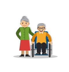 a man on a wheelchair and joy vector image vector image