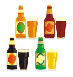 bottle and glasses of beer vector image