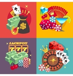 Casino gambling concept set with win money vector image