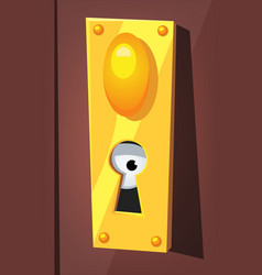 eye spying behind door keyhole vector image