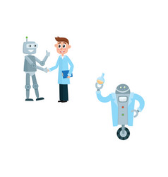 flat robots and people set vector image