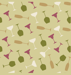 seamless pattern of wineglass background vector image vector image