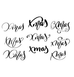 set of xmas calligraphy lettering word christmas vector image