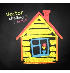 Chalk drawing of house vector image