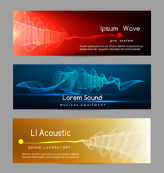 sound wave banners digital abstract vibrant vector image