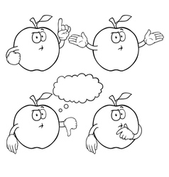 Black and white thinking apple set vector image vector image