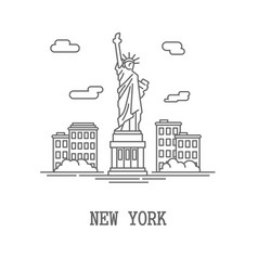 drawing silhouette new york city vector image