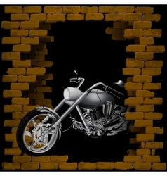motorbike chopper in breaking the brick wall vector image vector image