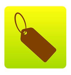 tag sign brown icon at green vector image