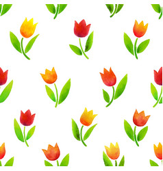 watercolor tulips pattern vector image