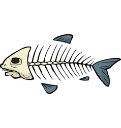 fish skeleton doodle vector image vector image