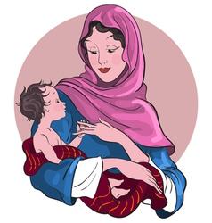 Madonna and child jesus christmas theme vector