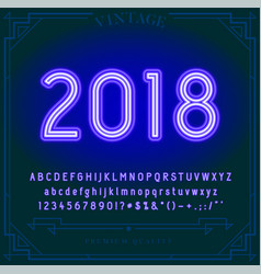 2018 happy new year holiday bright neon alphabet vector