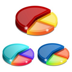 3D pie graph vector