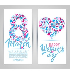 8 March cards of icons vector image