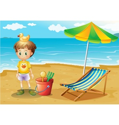 A young boy and his toys at the beach vector image