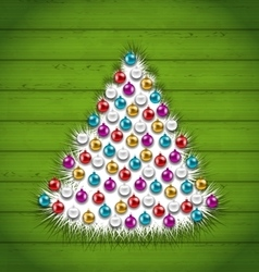 Abstract christmas tree decorated colorful balls vector