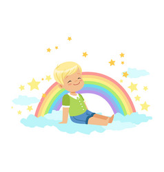 Adorable little blonde boy sitting on a cloud next vector