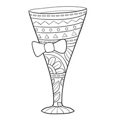 Adult coloring bookpage a cute glass vector