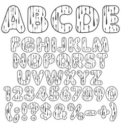 Alphabet letters numbers and signs with drops vector