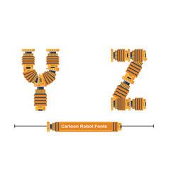 alphabet typography font cartoon robot style vector image