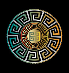 ancient round ornament gold black blue vector image