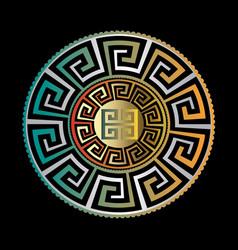 Ancient round ornament gold black blue vector