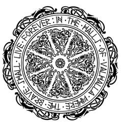 Ancient scandinavian ornament shield viking vector