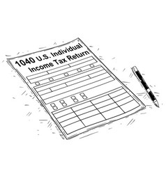 Artistic drawing of 1040 individual income tax vector
