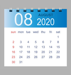august 2020 monthly calendar template 2020 vector image