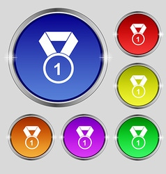 Award medal icon sign Round symbol on bright vector