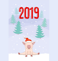banner 2019 with cute piggy on the winter vector image