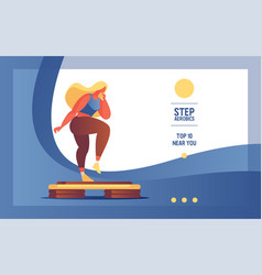 banner with flat woman character doing step vector image