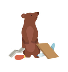 Bear and plastic waste global environmental vector