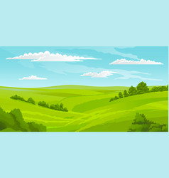 Beautiful summer landscape with green hills vector
