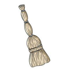 Besom organic broom doodle hand drawn image vector