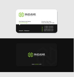 Black matte business card with green letter n vector