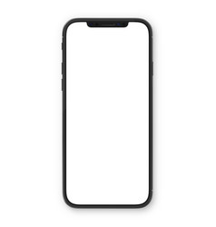 black smartphone with blank white screen high vector image