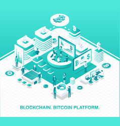 blockchain and bitcoin platform operation model vector image