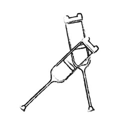 blurred silhouette pair of medical crutches icon vector image