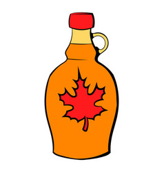 bottle of maple syrup icon cartoon vector image