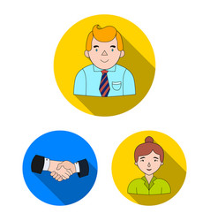 Business conference and negotiations flat icons in vector