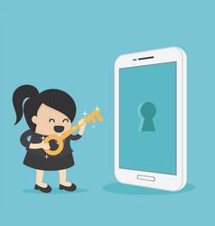 Businesswoman holds a golden key to unlock vector