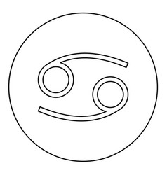 cancer zodiac symbol crawfish sign icon black vector image